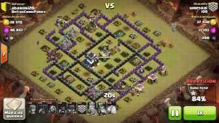 Montapuercos Con Globos TH9 Vs TH9 WAR Clash Of Clans