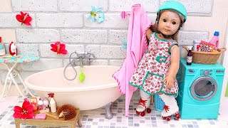 Baby Doll cleans and washes after messy accident with her bike! Play Toys