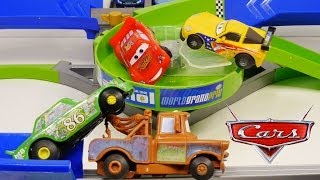 Cars 2 Double Decker Speedway Stunt Racers Lightning McQueen Chick Hicks Mater Disney Race Track