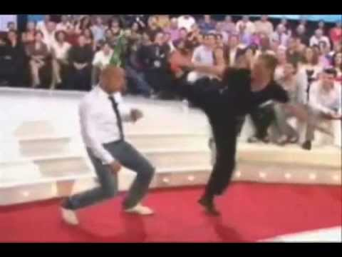 JeanClaude Van Damme  Amazing bottle kick above the head  Live TV  2008