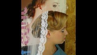Свадебный макияж и прическа с фатой испанка