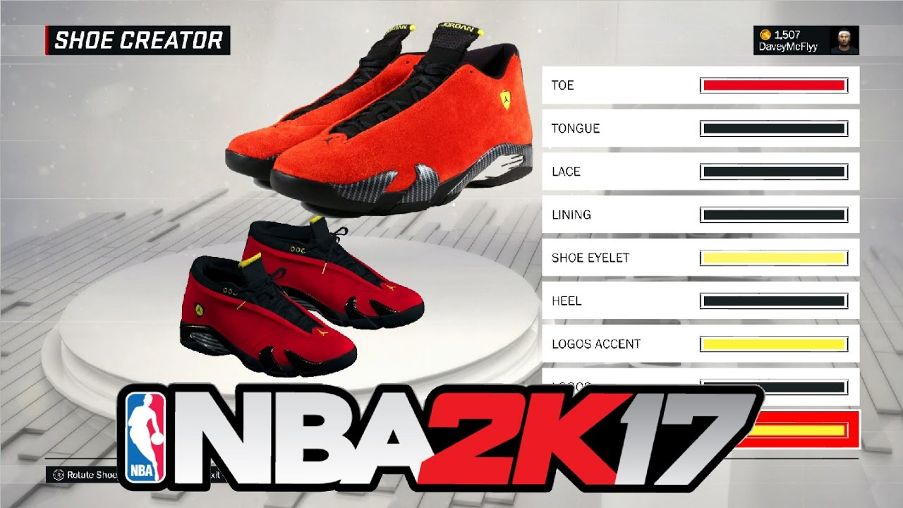 0085594e6e71bb How To Make Air Jordan Ferrari 14 s in NBA 2k17 Tutorial - YouTube
