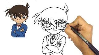 تعلم رسم الانمي | كيف ترسم المحقق كونان || تعليم الرسم الانمي للمبتدئين