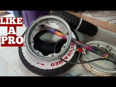 How To Fit Tyre To Rims At Home Video-How To Fit Lambretta Scooter Tyres To Wheel Rim By Our Own-Diy
