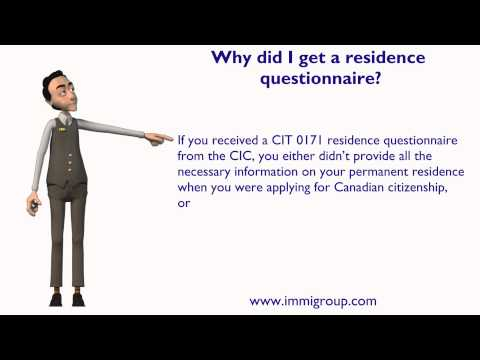 Why did I get a residence questionnaire?