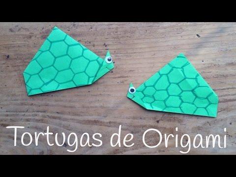 Tortuga de papel paso a paso, origami fácil para niños