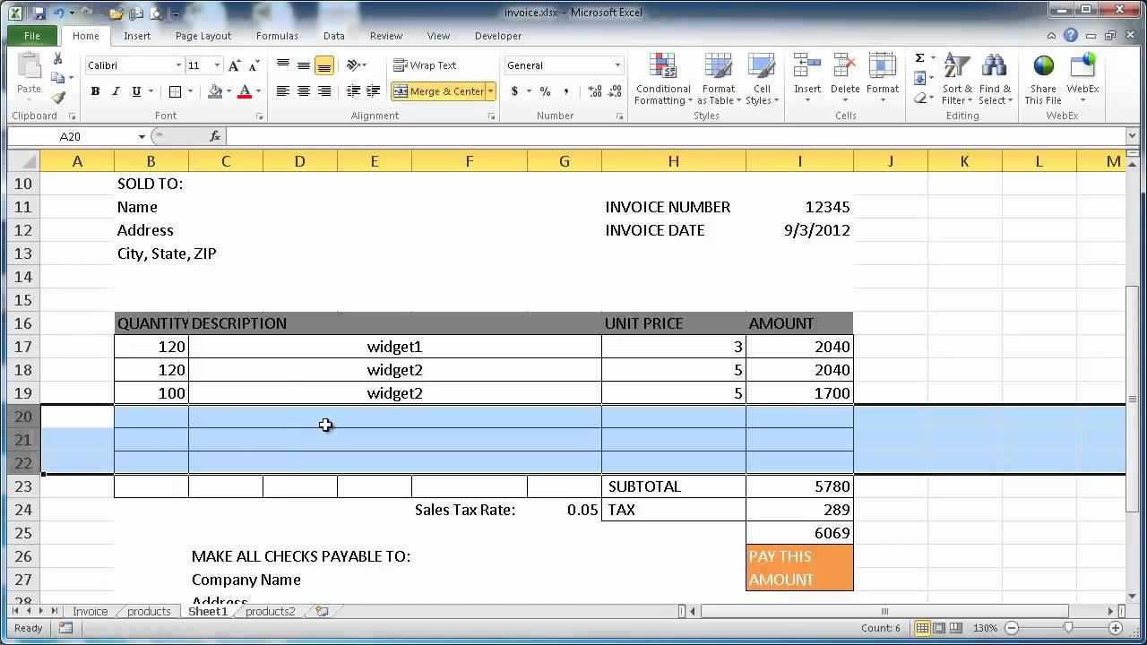 Create an Invoice in Excel 2010 - YouTube
