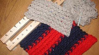 Tutorial facile sciarpa scaldacollo punto incrociato telaietto per lana rettangolare- knitting loom