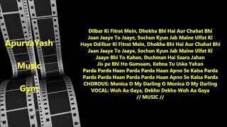 Parda Parda Karaoke Lyrics Scale Lowered