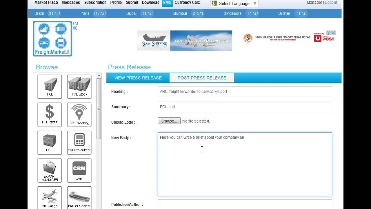 Freight Market - The Online Freight Platform for FCL, LCL, Air Cargo