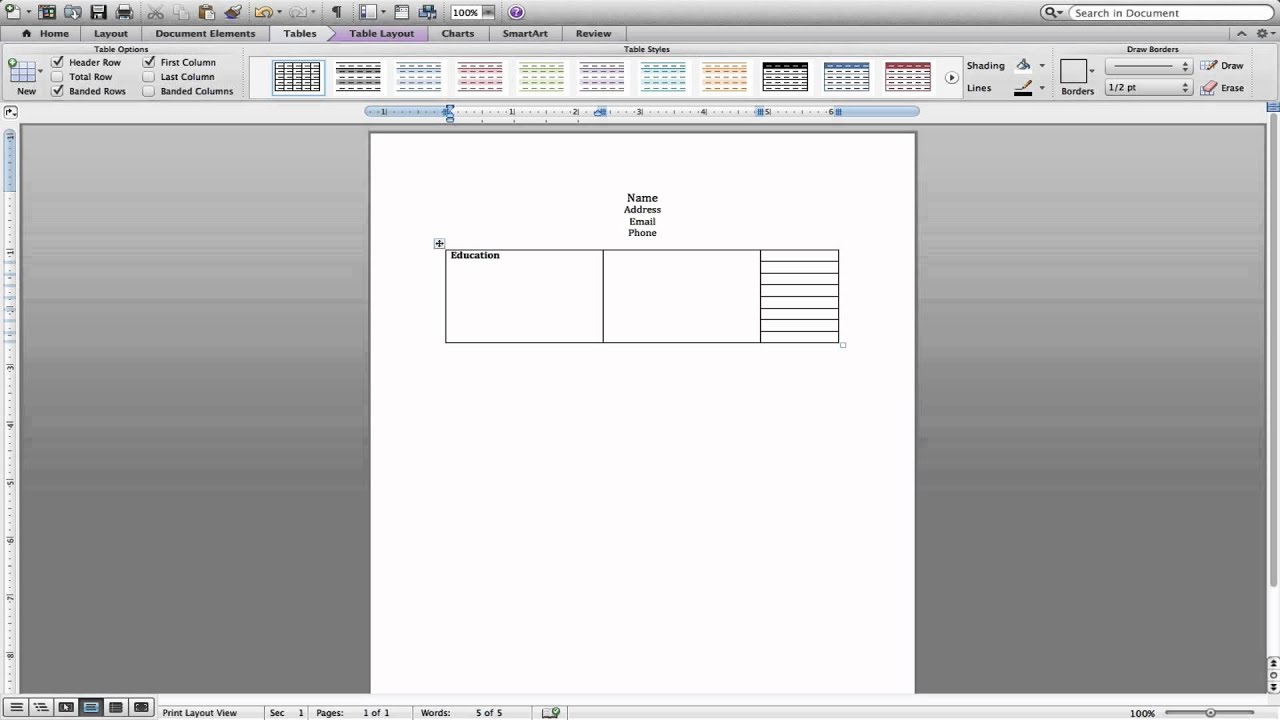 formatting a resume using tables in microsoft word