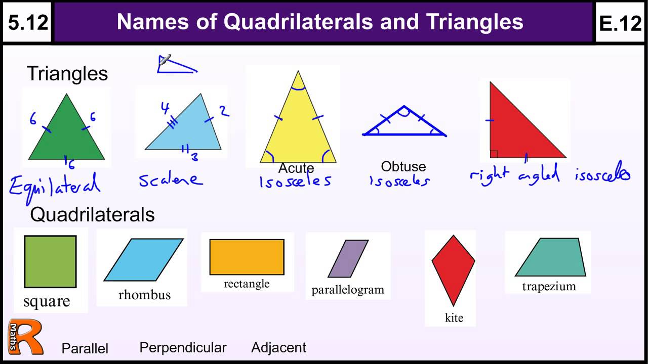 worksheet Area Of Triangles And Quadrilaterals Worksheet 5 12 properties of quadrilaterals and triangles basic maths gcse core skills level grade e youtube