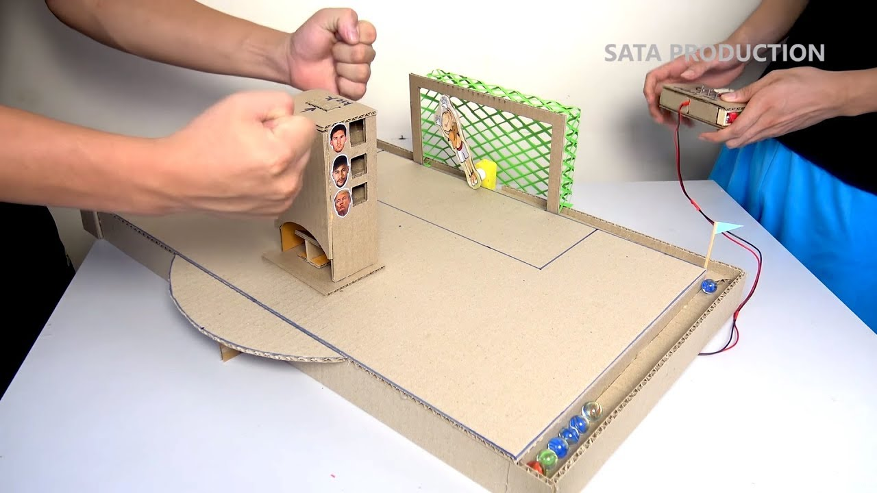 How to Make Penalty Game with Robot Goalkeeper - [No.3] DIY Game from Cardboard