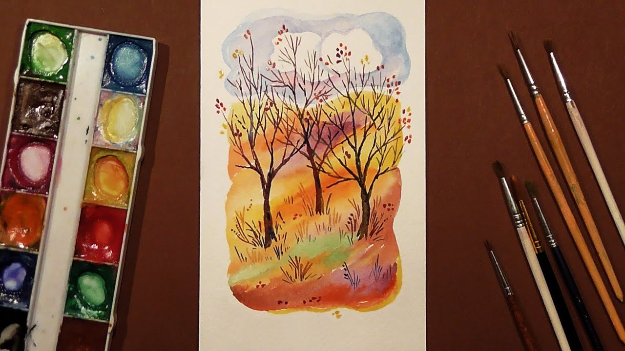 Speed painting autumn landscape greeting card gouachewatercolor speed painting autumn landscape greeting card gouachewatercolor iotn m4hsunfo Image collections
