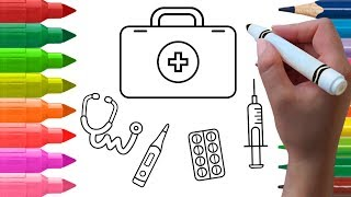 How to Draw Medical Doctors Kit Coloring for Kids Learn Colors Drawing Videos for Kids Taka Taka