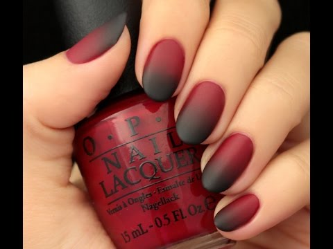 Омбре на ногтях красный