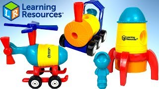 UNBOXING LEARNING RESOURCES 1.2.3 BUILD IT ROCKET SHIP TRAIN & HELICOPTER