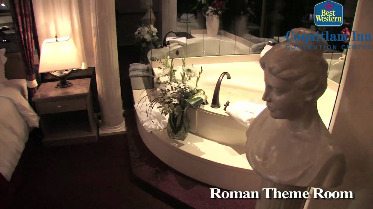Best western coquitlam inn roman theme room youtube for Roman themed room