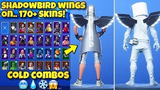 "NEW ""SHADOWBIRD WINGS"" BACK BLING Showcased With 170+ SKINS! Fortnite BR (SHADOWBIRD WINGS COMBOS)"