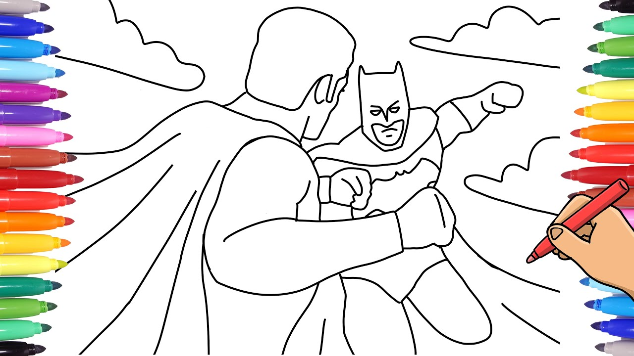 WATCH HOW TO DRAW A SUPERHEROES COLORING PAGE WITH MARKERS - BATMAN VS  SUPERMAN COLORING PAGE