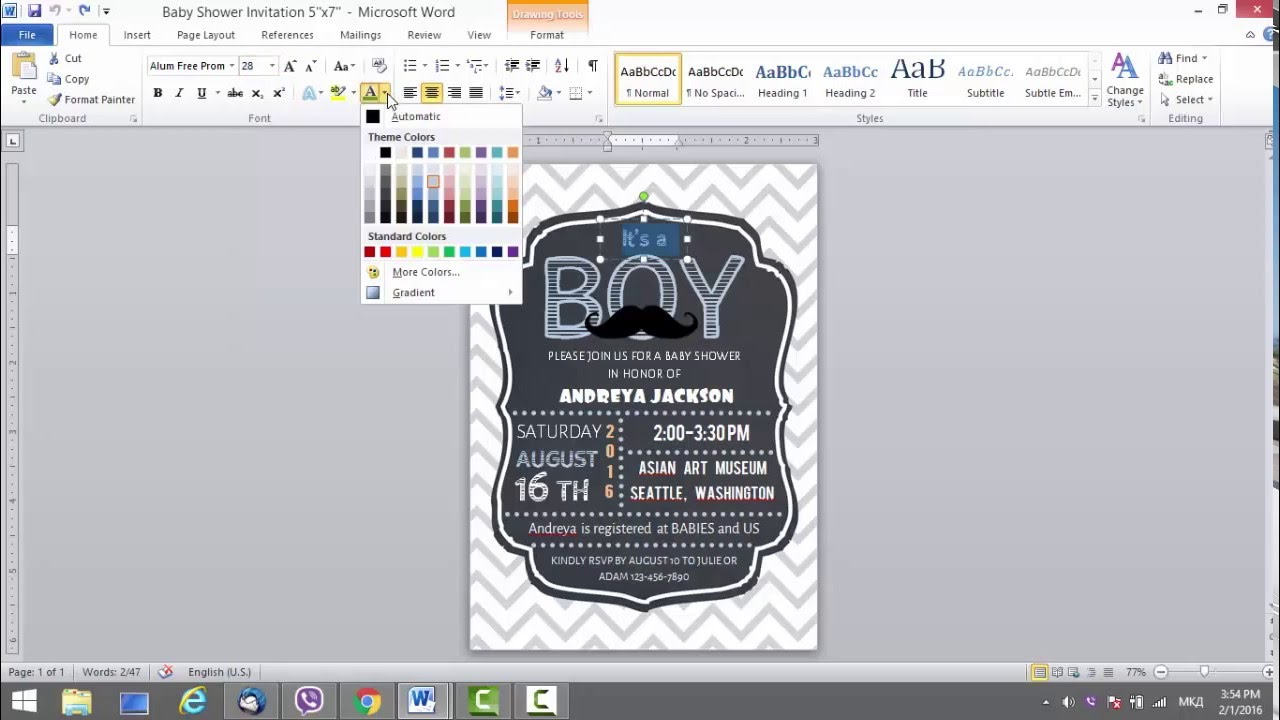 Baby Shower Invitation Template In MS Word