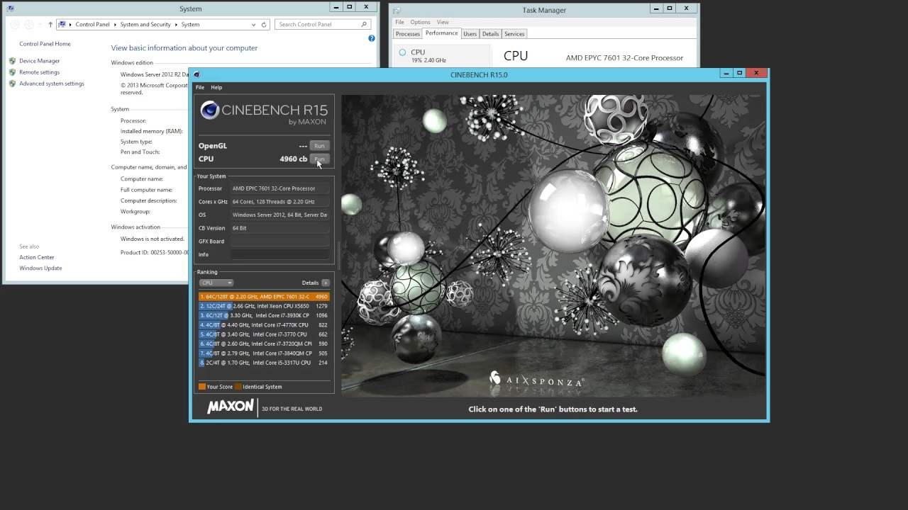 Dual AMD EPYC 7601 Crushing Cinebench R15 Windows Server 2012 R2 v 2016 Out  of Box Experience