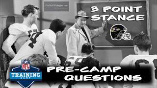 Football Gameplan's 3 Point Stance - Ravens Pre-Camp Questions