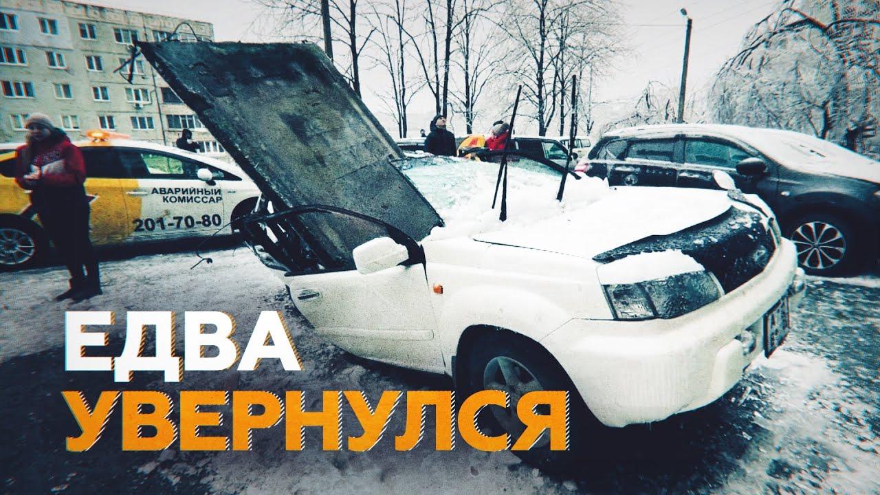 В Приморье мужчина отпрыгнул за секунду до падения бетонной плиты на его автомобиль