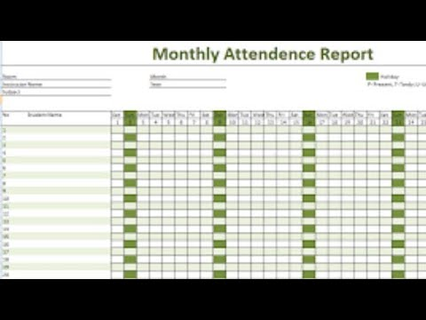 How to create Daily Attendance Sheet in Excel - YouTube