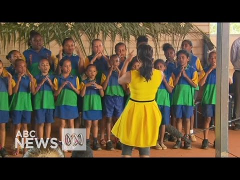 'My Island Home': PM gets rousing rendition from Cape York school kids