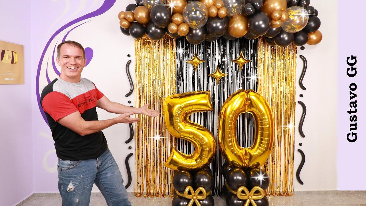 DECORACION CON GLOBOS 🎈🎉 (Guirnalda de globos) - Decoracion de cumpleaños para hombre - Gustavo gg