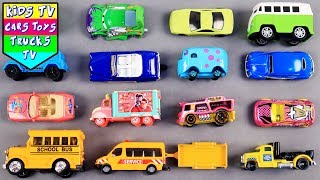 Learn City Vehicles Names And Sounds For Kids Children Babies Toddlers | School Bus Disney Vehicles