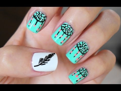 Easy Dreamcatcher Nail Art - YouTube