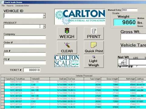 Carlton Industrial Automation Truck Scale Software
