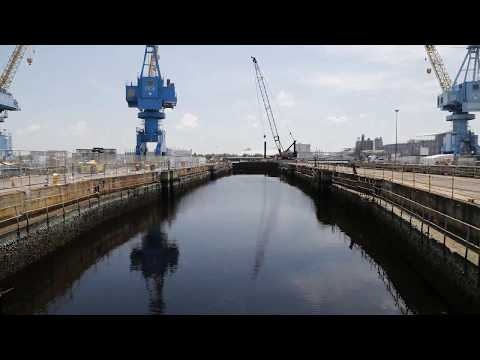 Dry Dock 6 Dewatering Time Lapse at Norfolk Naval Shipyard