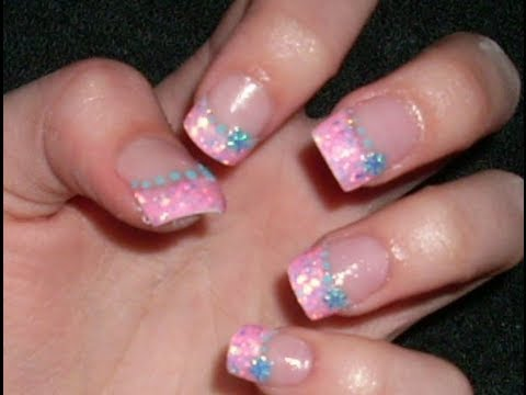 Acrylic Nail Tutorial Pink Glitter Tips With Blue Art