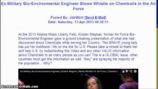 Ex-Military Bioenvironmental Worker Blows Whistle on Chemtrails in the Air Force