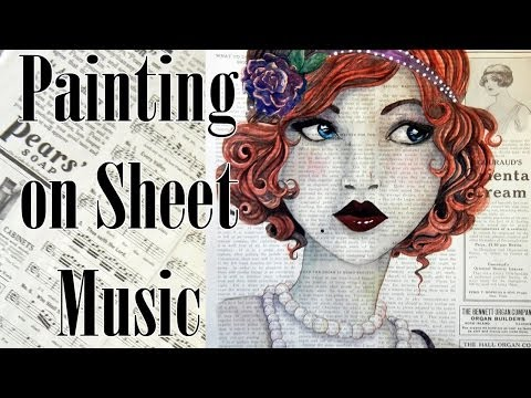 Painting on sheet music and vintage paper