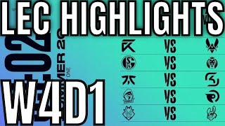 LEC Highlights ALL GAMES Week 4 Day 1 Summer 2020 League of Legends EULEC