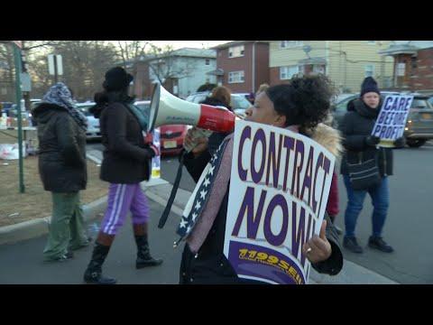 Health care workers at Linden nursing home go on strike