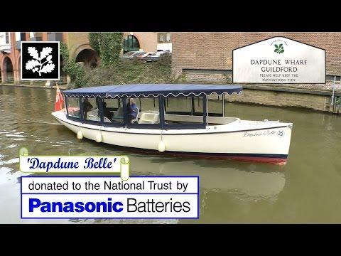 Electric Canal Boat UK. Brief History, Wey Navigation, Surrey, UK. National Trust UK. Dapdune Wharf.