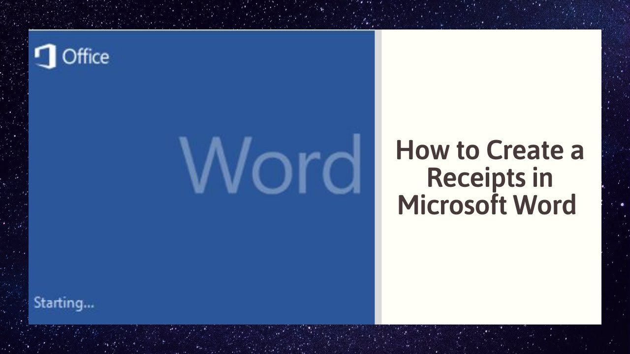 How To Create A Receipts In Microsoft Word YouTube - How to do an invoice on word online sports store