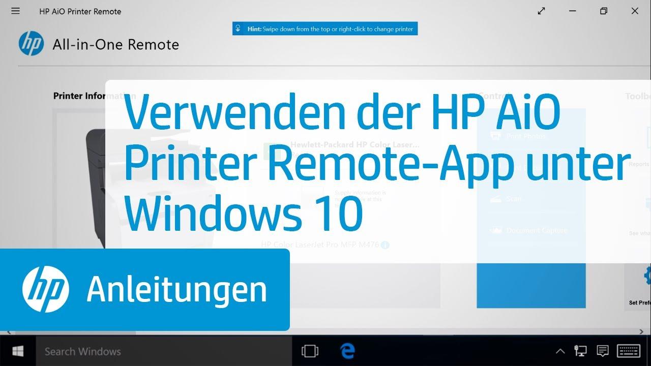 Verwenden der HP AiO Printer Remote-App unter Windows 10