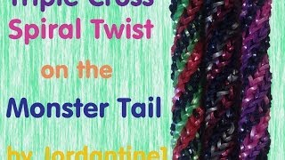 Triple Cross Spiral Twist Bracelet -Monster Tail - Rainbow Loom
