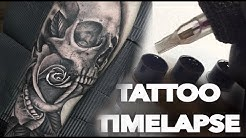 TATTOO TIMELAPSE | SKULL AND ROSE | CHRISSY LEE