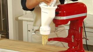 KitchenAid Pasta Press Attachment(Learn the fastest, easiest way to make fresh pasta -- from spaghetti and macaroni to rigatoni and fusilli. The product featured in this video can be purchased at ..., 2012-08-24T19:04:59.000Z)