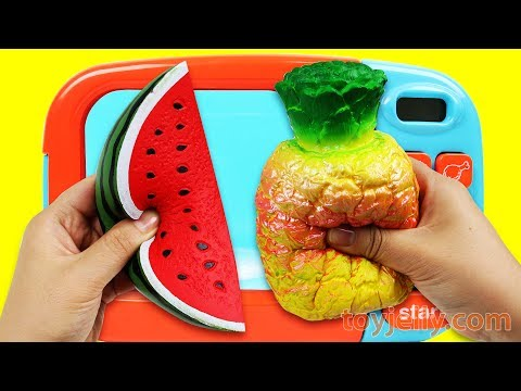 Microwave Surprise Learn Colors Squishy Toy Fruits Cutting Pretend Playset Milk Carton Fun for Kids