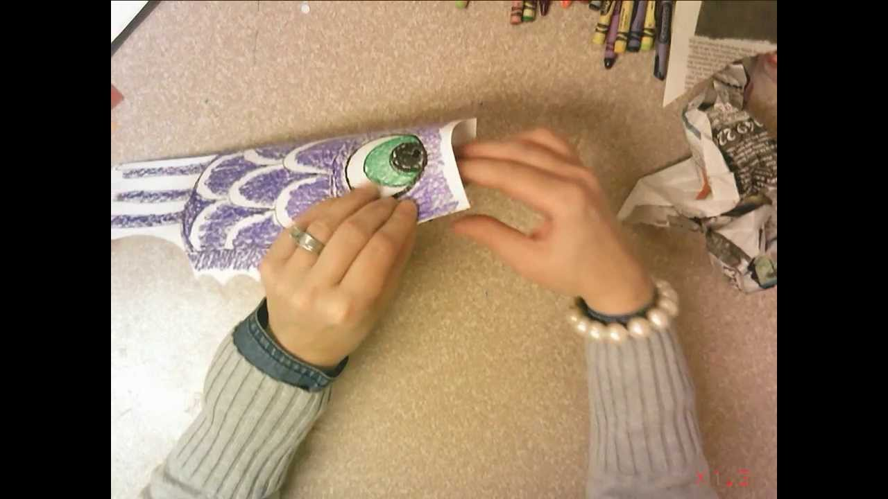 1st Grade Japanese Carp Kite - Crayon - YouTube