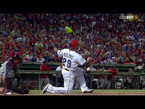 WS2011 Gm5: Beltre belts a homer from one knee