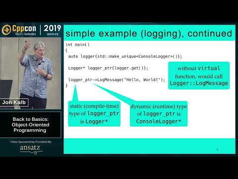 "CppCon 2019: Jon Kalb ""Back To Basics: Object-Oriented Programming"""